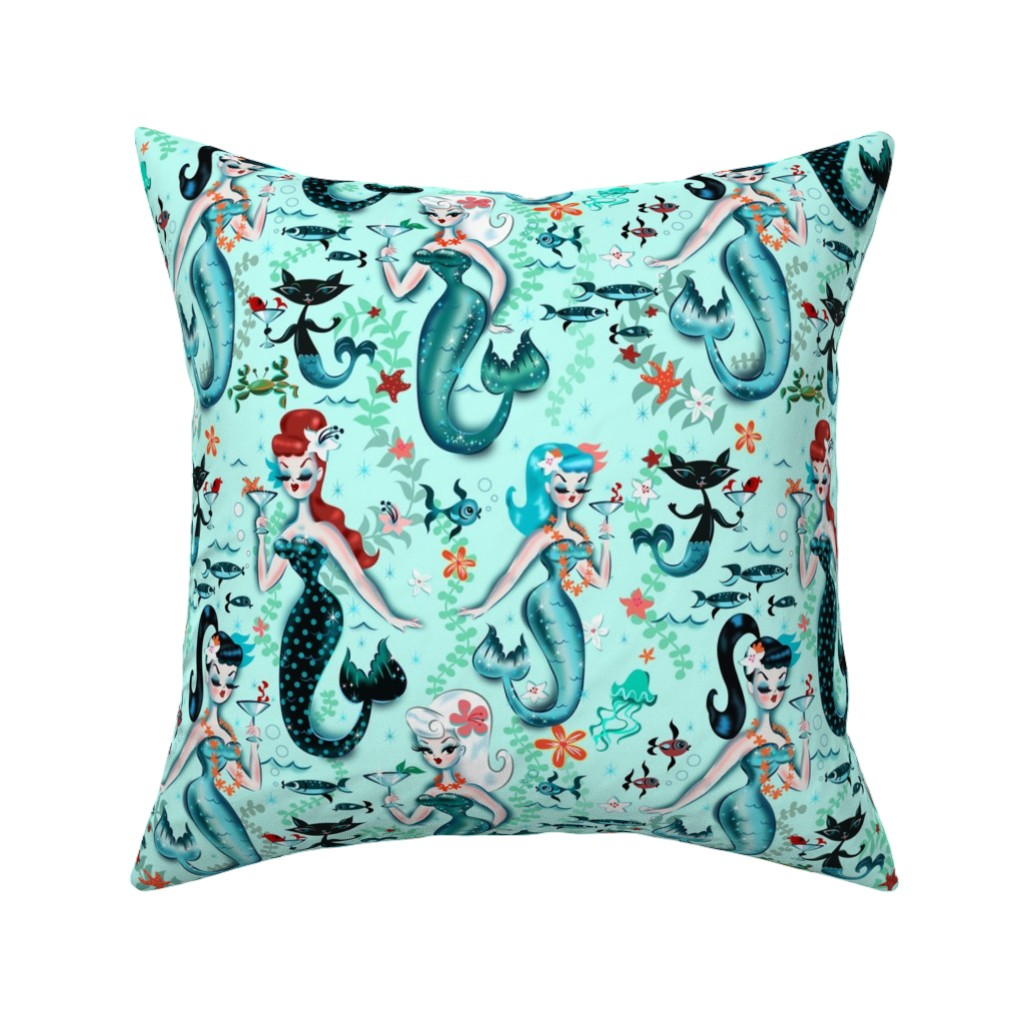 Catalan Throw Pillow featuring Martini Mermaids by miss_fluff