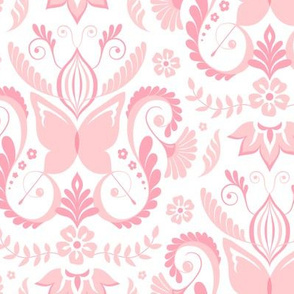 Butterfly Damask - Baby Soft Pink