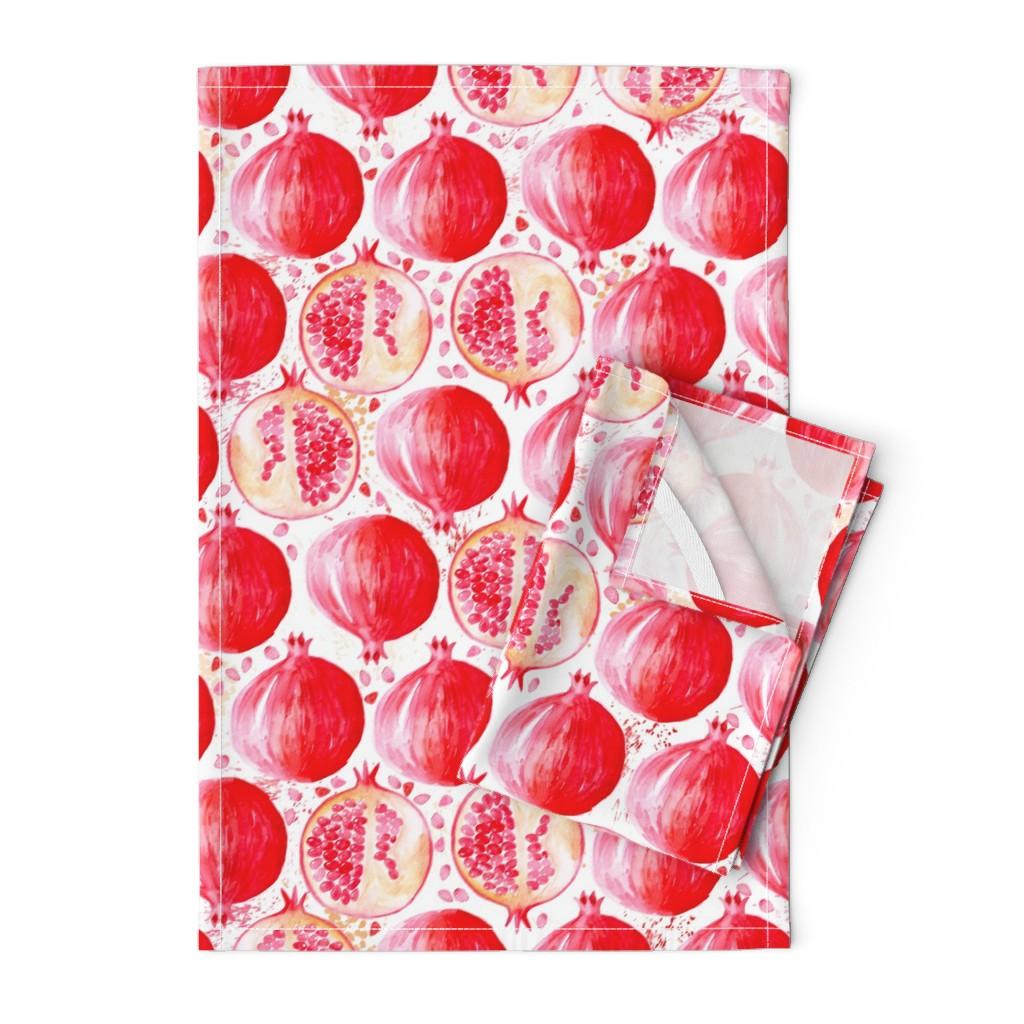 Orpington Tea Towels featuring watercolor pomegranate by nadja_petremand