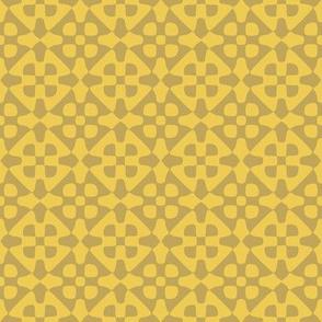 Diamond checker in wheat and gold