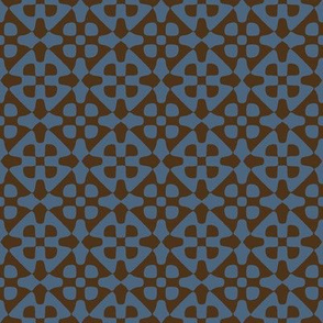 diamond checker in blue and brown