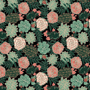 succulent and roses rotate