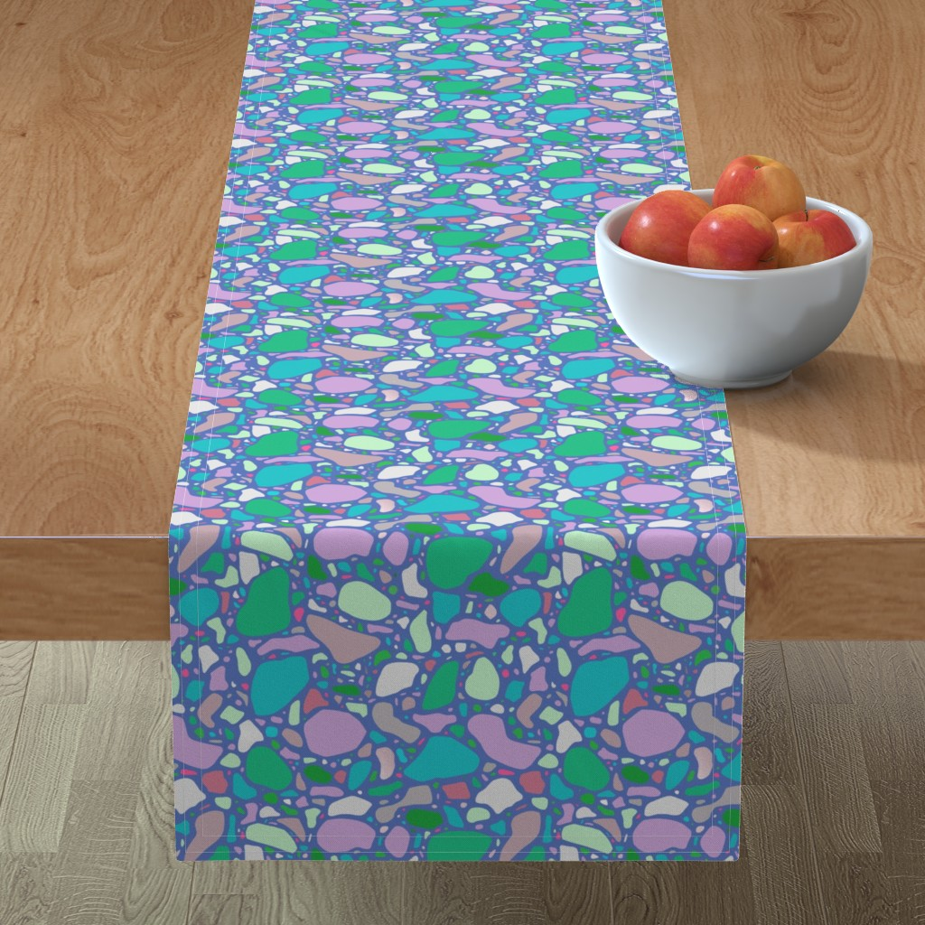 Minorca Table Runner featuring Periwinkle Terrazzo by thewellingtonboot