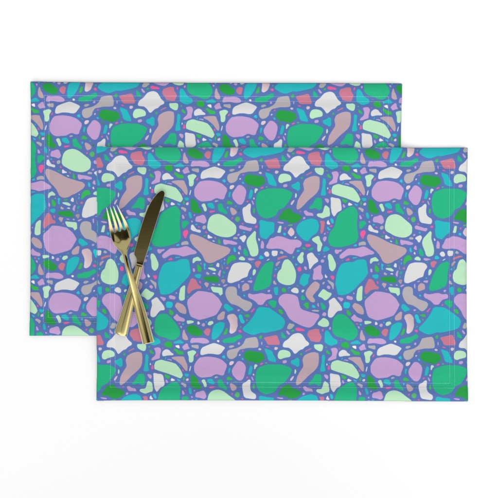 Lamona Cloth Placemats featuring Periwinkle Terrazzo by thewellingtonboot