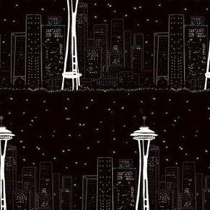 Seattle space needle at night by Salzanos