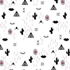 Sweet modern boho tribal indian summer ethnic  pop print black and white pink