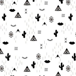 Sweet modern boho tribal indian summer ethnic  pop print black and white gender neutral