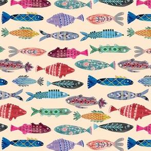 Small Colorful Folk Fish- tan background