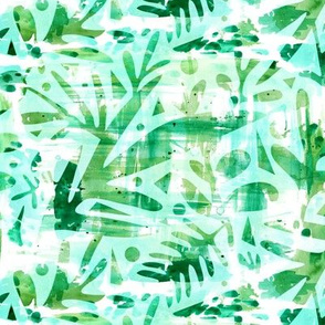 Abstract Jungle - Watercolor Blue
