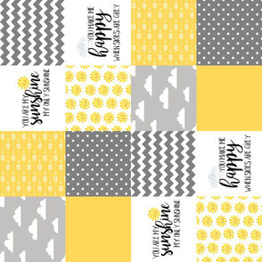 You Are My Sunshine//Yellow - Wholecloth Cheater Quilt - Rotated