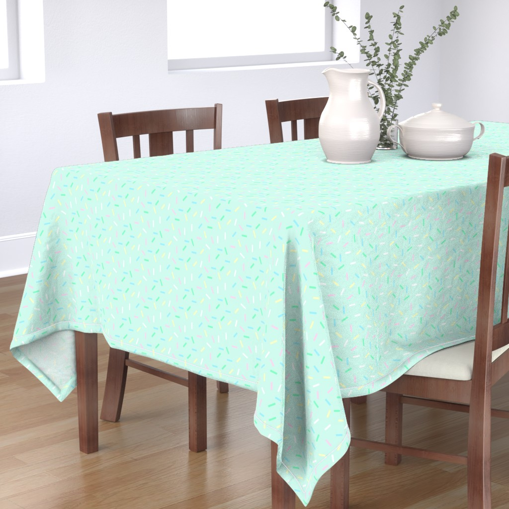 Bantam Rectangular Tablecloth featuring Candy sprinkles on mint by lub_by_lamb
