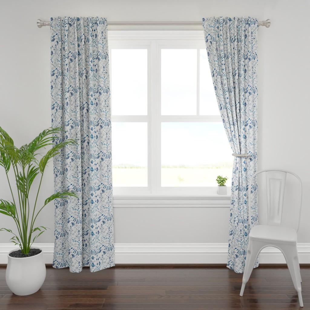 Plymouth Curtain Panel featuring Ikat Rhapsody (indigo) by nouveau_bohemian