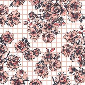 grid picnic roses - pink