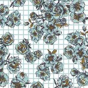 grid picnic roses - turquoise