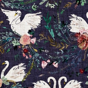 Fable Swan Damask (SML) (grape)