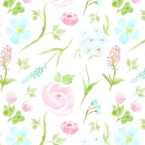 Watercolor Floral (white)
