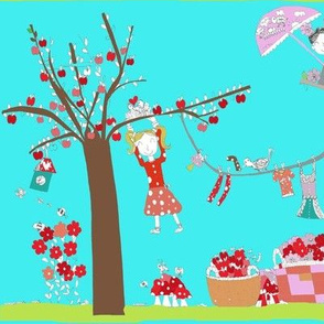Kids design contest: Strawberries and apples fabric by my daughter Marta