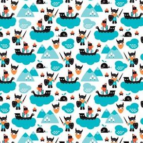 Scandinavian vikings and pirate ship illustration pattern XS