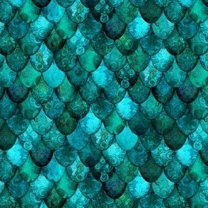 SMALL Dark Teal Mermaid or Dragon Scales, after Fabergé, by Su_G_©SuSchaefer