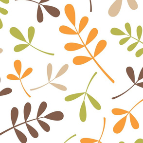 Assorted Leaves Pattern Retro Color