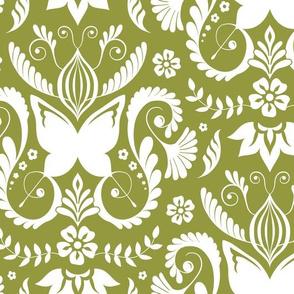 Butterfly Damask - Mossy Green