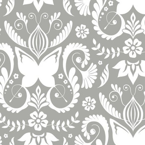 Butterfly Damask - Pewter
