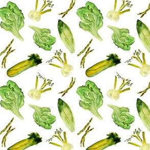 Green salad, watercolor