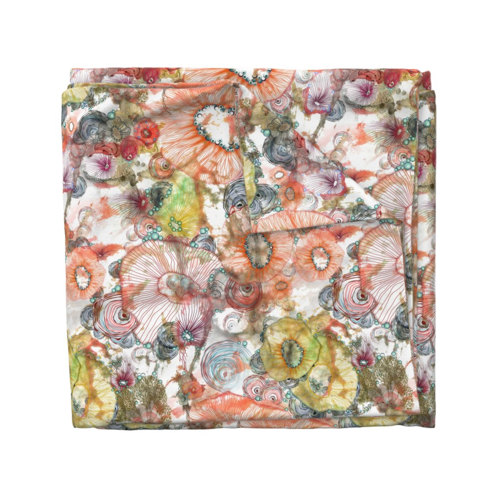 Wyandotte Duvet Cover featuring cosmic radiance abstract watercolor by mimipinto