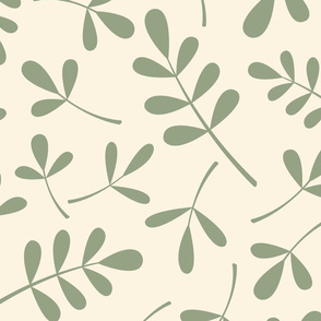 Assorted Leaves Pattern Green on Cream