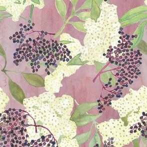 Elderberries and Flowers on Purple