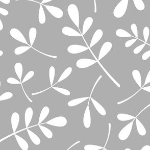 Assorted Leaves Pattern White on Gray