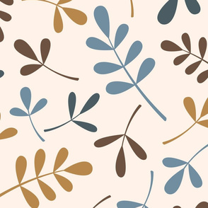 Assorted Leaves Ptn Blues Brown Gold Cream