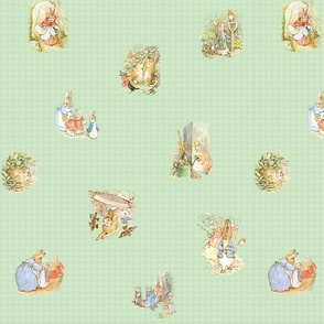 Peter Rabbit Tossed Medium Moss-Green Gingham