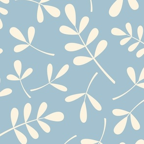 Assorted Leaves Pattern Cream on Blue
