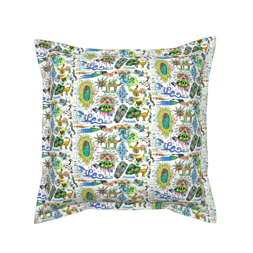 Serama Throw Pillow featuring abstract watercolor doodle, large scale, white blue green tan brown by amy_g