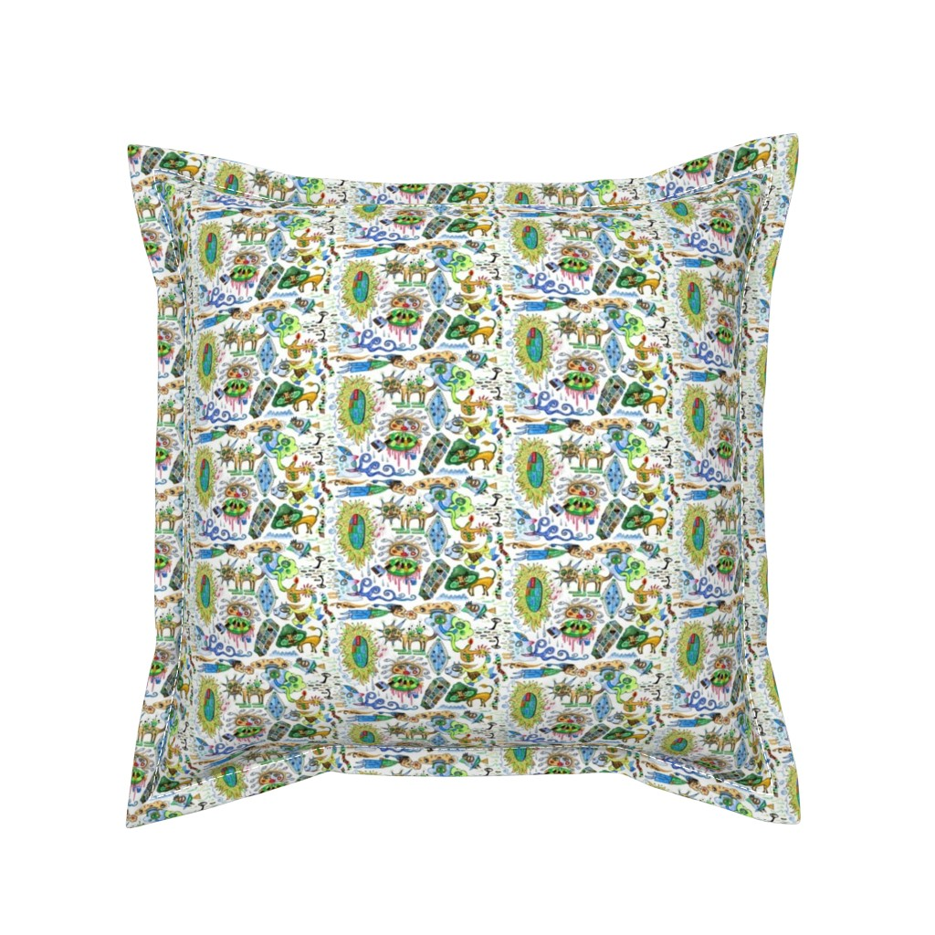 Serama Throw Pillow featuring abstract watercolor doodle, small scale, white blue green tan brown by amy_g