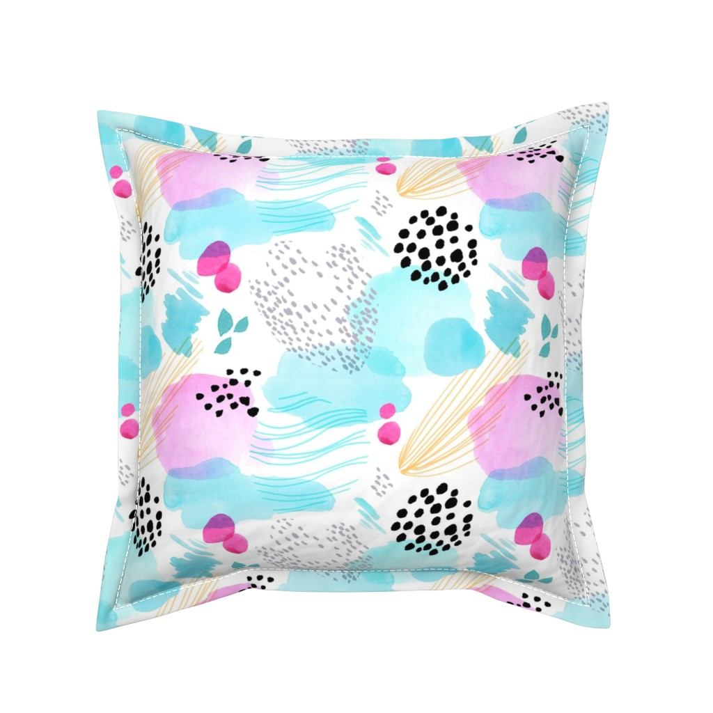 Serama Throw Pillow featuring Abstract Watercolor by Minikuosi by minikuosi