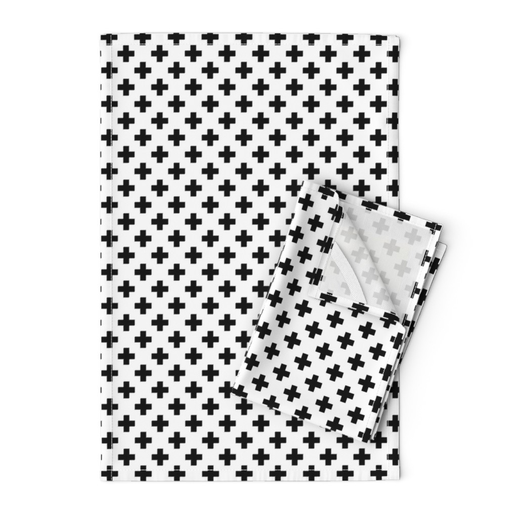 Orpington Tea Towels featuring Black Crosses on White by paper_and_frill