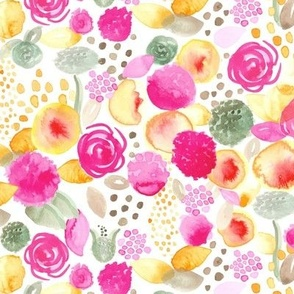 17-09G Watercolor Floral Spots Large    Home Decor Dots Texas Peach Pink Green Yellow Brown Abstract Botanical Flowers _ Miss Chiff Designs