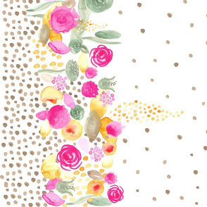 17-09E Watercolor Floral Border with Tan Polka dots 54""
