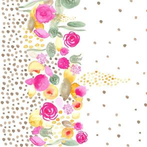 """17-09D Watercolor Floral Border Tan polka dots 42"""""""