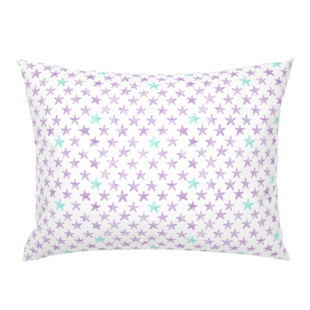 Campine Pillow Sham featuring (small scale) starfish purple - mermaid coordinate  by littlearrowdesign