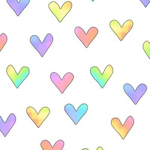rainbow hearts on white