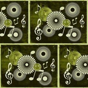 MDZ33 - Large - Musical Daze Tiles in Monochromatic Olive Green