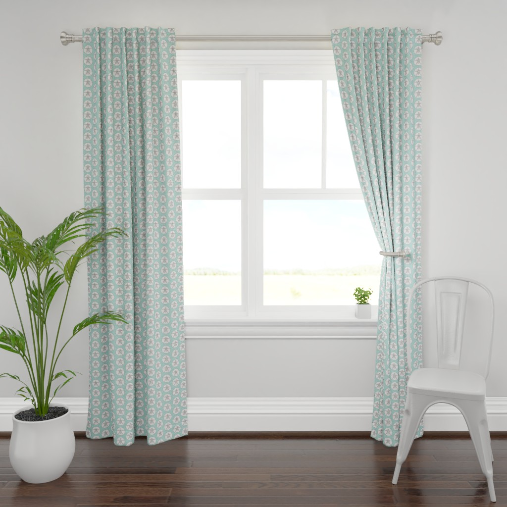 Plymouth Curtain Panel featuring sand dollars on light teal by lilcubby