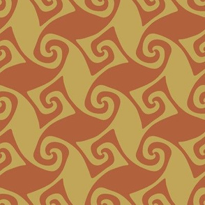 spiral trellis - rust and wheat