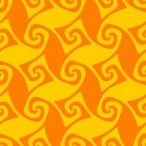 spiral trellis - saffron yellow and orange