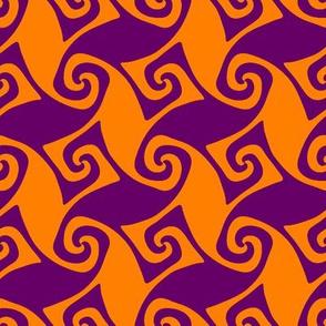 spiral trellis - India orange and dark purple