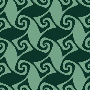 spiral trellis in dark and light green