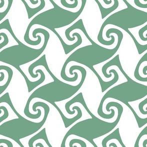 spiral trellis - light green and white